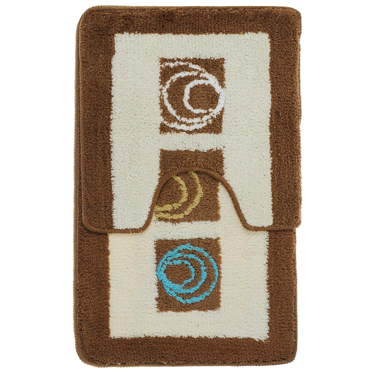 Комплект ковриков для ванной Fresh Code Микс, цвет: коричневый, белый, 2 предмета набор ковриков для ванной и туалета axentia цвет коричневый 2 шт