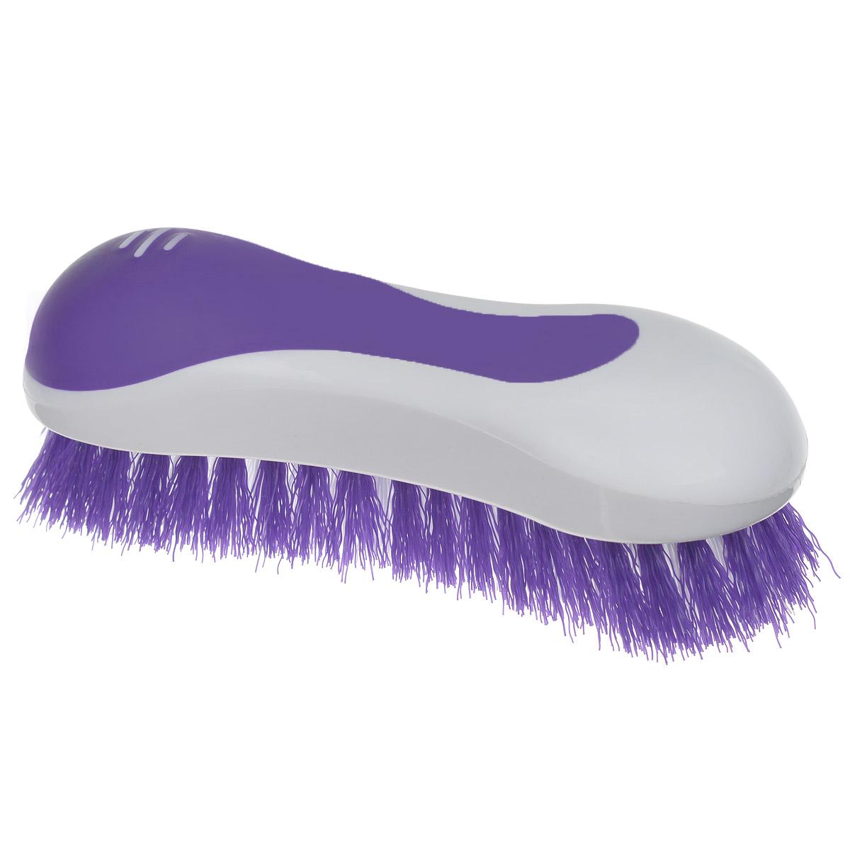 Еврощетка Home Queen, универсальная, цвет: фиолетовый, белый52072Еврощетка Home Queen, выполненная из полипропилена, являетсяуниверсальной щеткой для очистки любых поверхностей, эффективно очищаетзагрязнения. Эргономичная форма для большего удобства использования. Размер: 20 см х 7 см х 7 см.Длина ворсинок: 3 см.