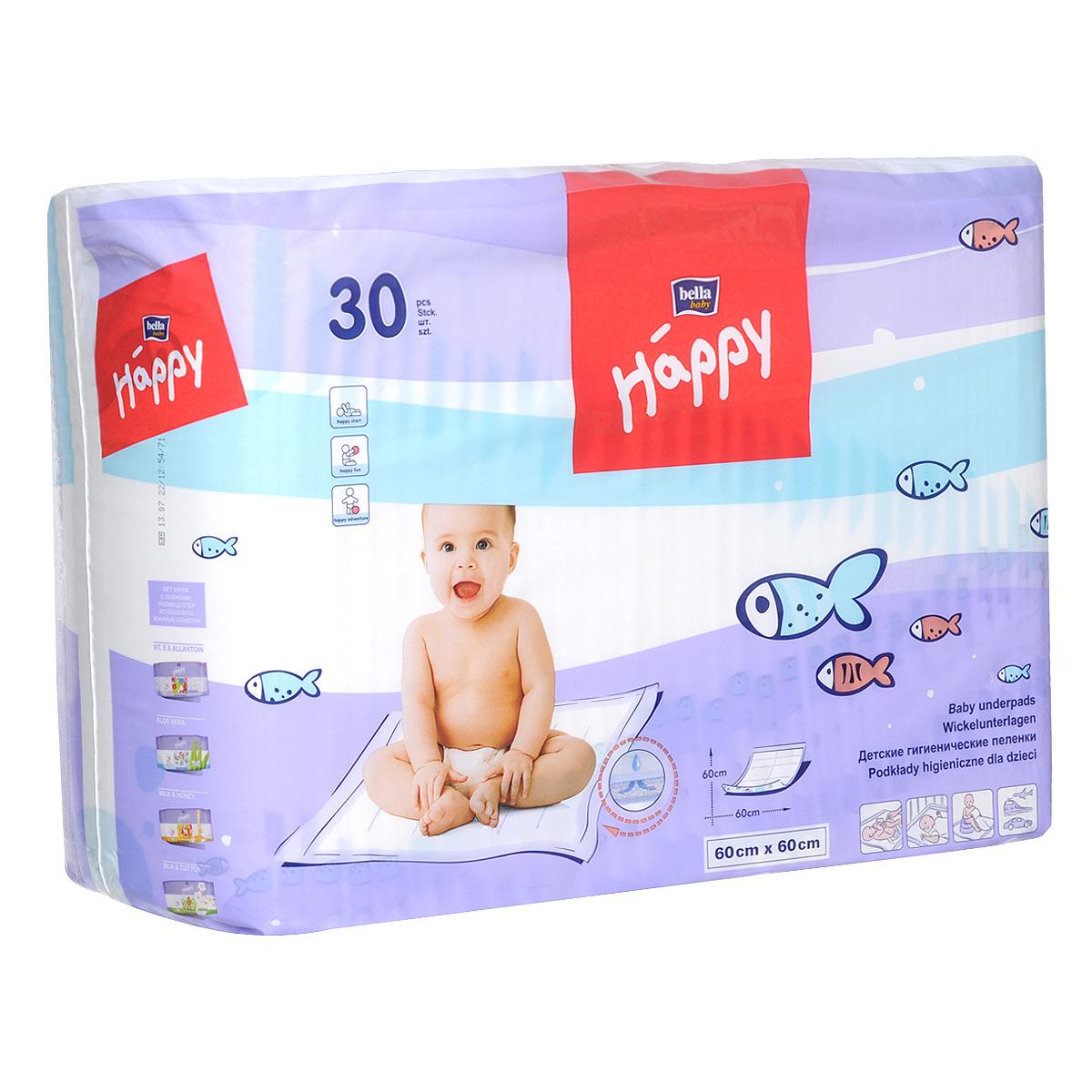 Bella Baby Happy Пеленки гигиенические, детские, 60 см x 60 см, 30 шт bella влажные салфетки baby happy алое вера 56 шт