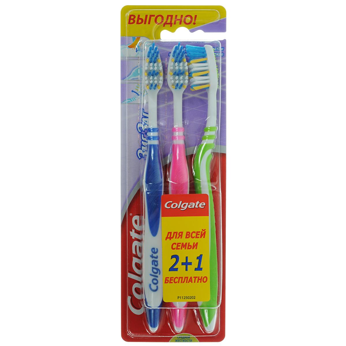 Colgate Зубная щетка Зиг-Заг, средней жесткости, 2+1FVN59964Colgate Зиг-Заг - зубная щетка средней жесткости. Перекрещивающиеся щетинки идеально подойдут для чистки межзубных промежутков. Эргономичная ручка не скользит в ладони, амортизирует давление руки на нежную поверхность десен. Товар сертифицирован. Длина щетки: 19 см.Размер рабочей поверхности: 3 см х 1,5 см.Материал: пластик.Комплектация: 3 шт.