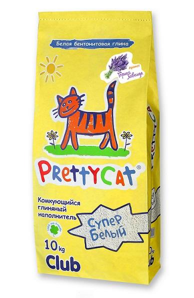 Наполнитель Pretty Cat  Cупер белый  для кошачьего туалета, глиняный, аромат лаванды, 10 кг - Наполнители и туалетные принадлежности