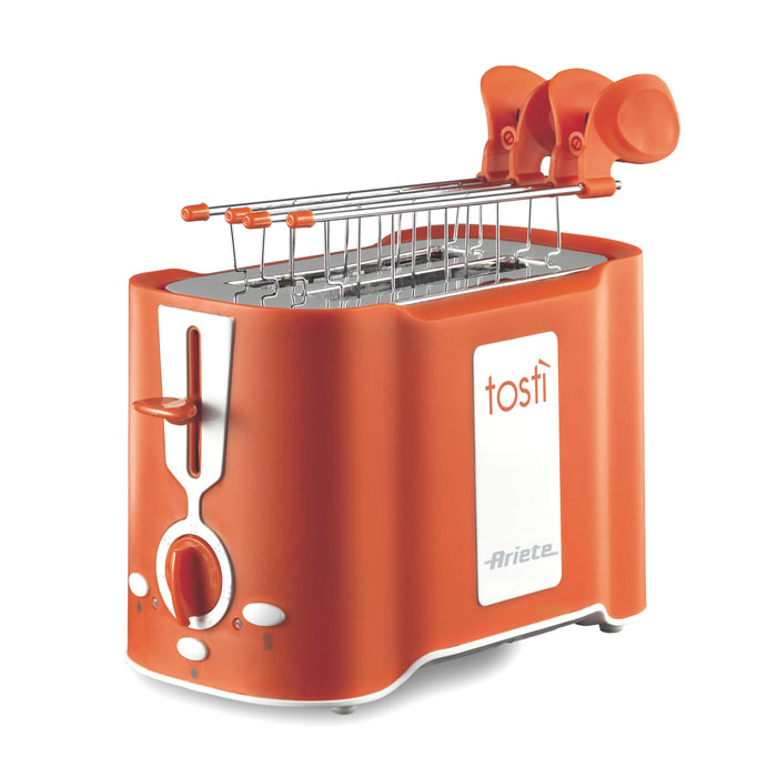 Ariete Tosti, Orange тостер (124/11)124/11 orangeТостер Ariete Tosti идеально подходит для поджаривания хлеба на завтрак или на закуску. Он имеет 6 уровнейприготовления, что позволяет настроить желаемую степень поджаривания. Поддон для крошек является съемнымдля облегчения чистки. Функции разморозки и автоматического извлечения ломтиков делают его бесспорнымсоюзником на кухне.Уровни подрумянивания: 6Автоматическое извлечениеПоддон для крошек
