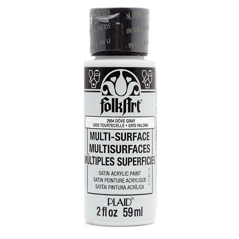 Краска акриловая FolkArt Multi-Surface, цвет: серый (2954), 59 млPLD-02954Акриловая краска FolkArt Multi-Surface - это прочная погодоустойчивая сатиновая краска для различных поверхностей: стекло, керамика, дерево, металл пластик, ткань, холст, бумага, глина. Идеально подходит как для использования в помещении, так и для наружного применения. Изделия, покрытые такой краской, можно мыть в посудомоечной машине в верхнем отсеке. Не токсична, на водной основе. Перед применением краску необходимо хорошо встряхнуть. Краски разных цветов можно смешивать между собой. Перед повторным нанесением краски дать высохнуть в течении 1 часа. До высыхания может быть смыта водой с мылом.
