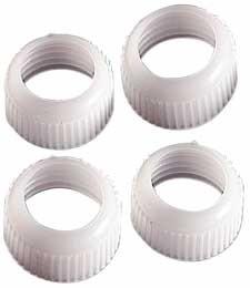 Набор колец для фиксации насадок Wilton, на подвесе, цвет: белый, 4 штWLT-418-47306Набор Wilton состоит из 4 колец для фиксаторов насадок на кондитерском мешке, изготовленных из пластика белого цвета. С кольцами Wilton насадки на мешке будут сидеть плотно! Диаметр кольца: 2,1 см.