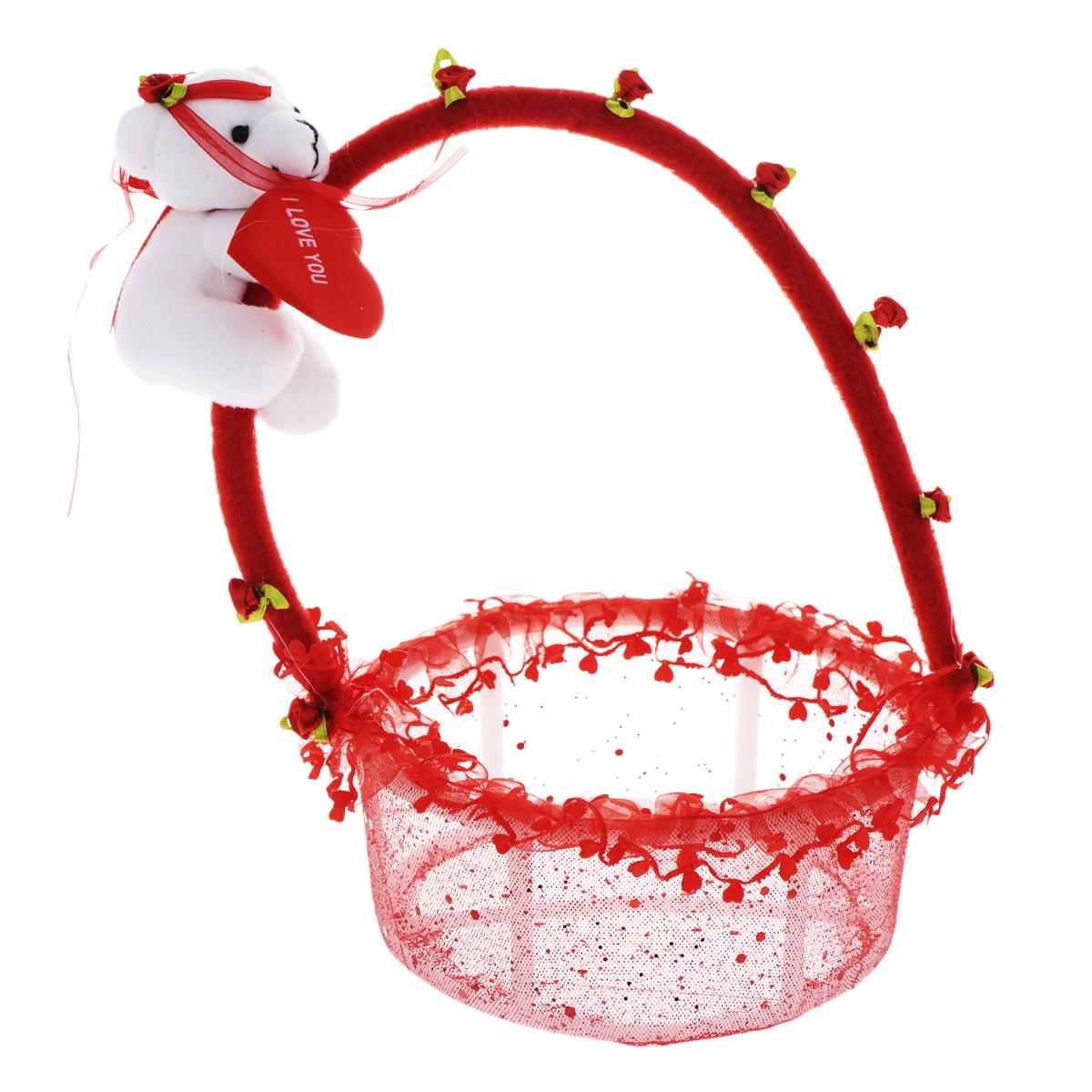 Корзинка декоративная Home Queen От всего сердца, цвет: красный, 13 см х 13 см х 23 см60470Декоративная корзинка Home Queen От всего сердца имеет пластиковый каркас и обтянута сетчатым полиэстером. Корзинка украшена рюшами и блестками. Ручка декорирована маленькими текстильными розочками и белым плюшевым мишкой с сердечком. Красивая корзинка станет милым сувениром и порадует получателя. Может послужить как подарочная упаковка для подарка или как аксессуар для хранения бытовых вещей и предметов для рукоделия (бусин, бисера и т.д.).