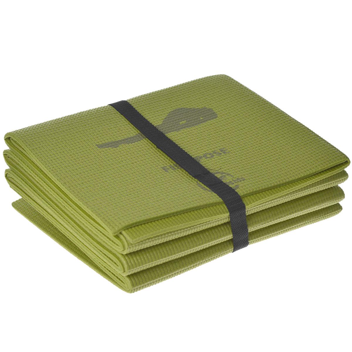 Коврик для йоги Lite Weights, складной, цвет: салатовый, 173 см х 61 см х 0,5 см