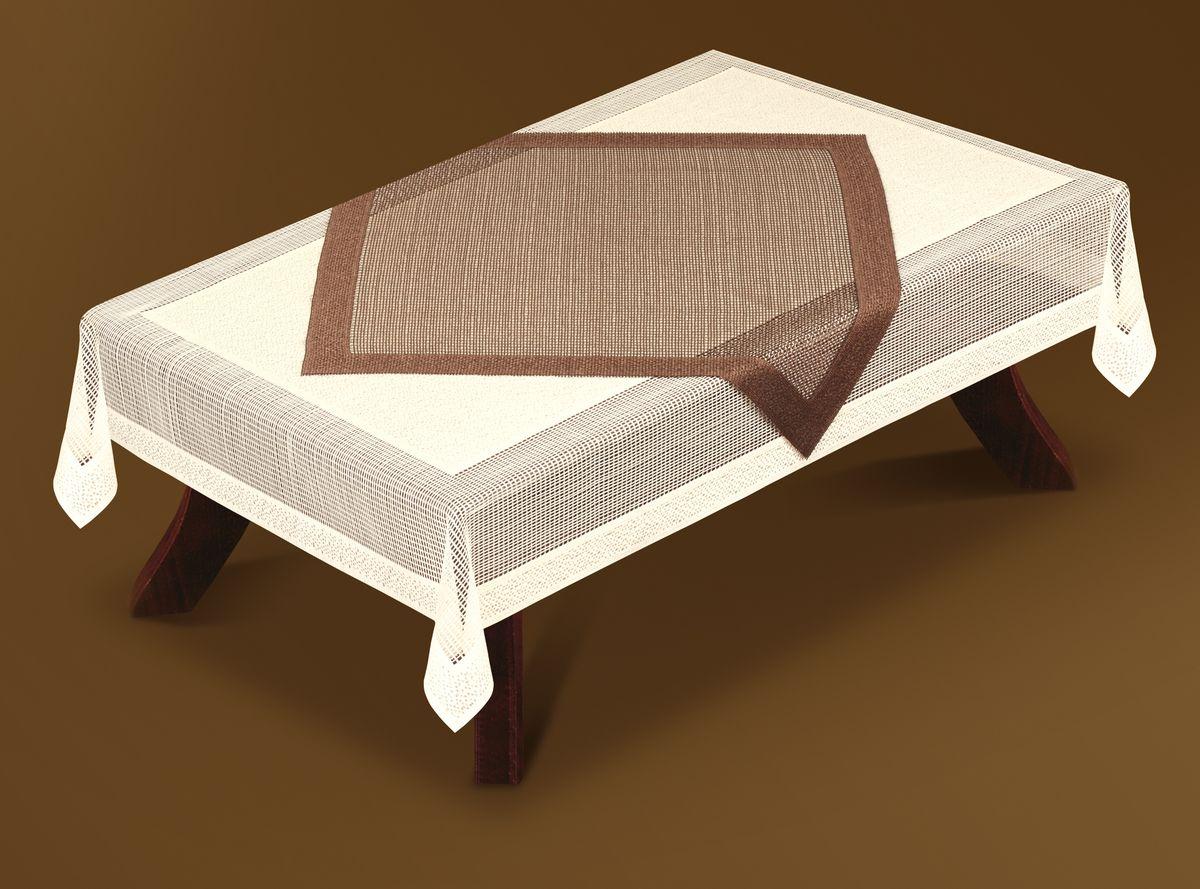 Скатерть Haft Gold Line, с накладкой, прямоугольная, цвет: кремовый, коричневый, 120x 160 см. 201090-120201090-120Великолепная прямоугольная скатерть Haft Gold Line, выполненная из полиэстера, органично впишется в интерьер любого помещения, а оригинальный дизайн удовлетворит даже самый изысканный вкус. В комплекте квадратная накладка. Изделия выполнены из сетчатого материала. Скатерть Haft Gold Line создаст праздничное настроение и станет прекрасным дополнением интерьера гостиной, кухни или столовой. Размер накладки: 80 см х 80 см.