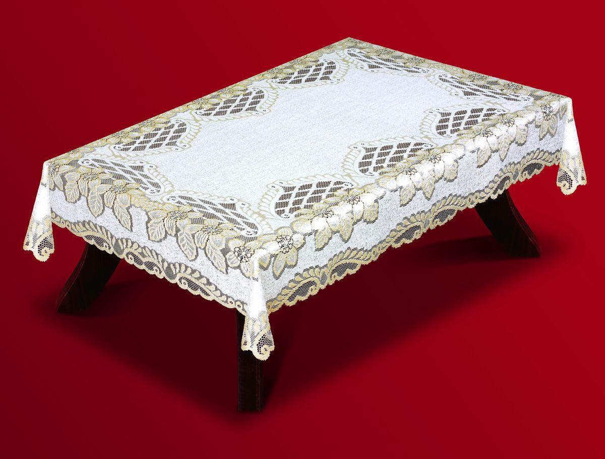 Скатерть Haft, прямоугольная, цвет: кремовый, золотистый, 140 x 220 см. 201320-140