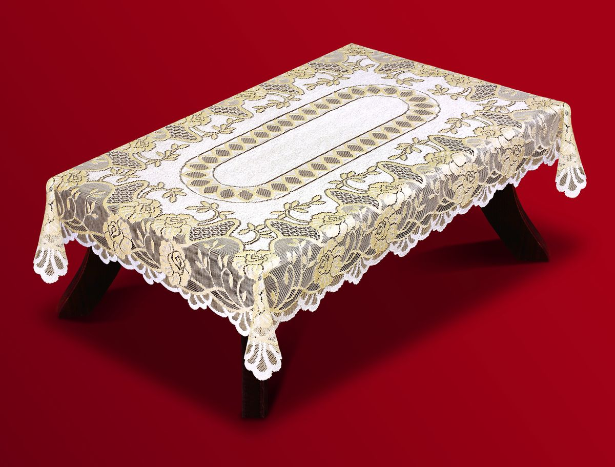 Скатерть Haft, прямоугольная, цвет: кремовый, золотистый, 120 x 160 см. 202600-120 скатерть haft овальная цвет кремовый золотистый 150 x 300 см 54111 150
