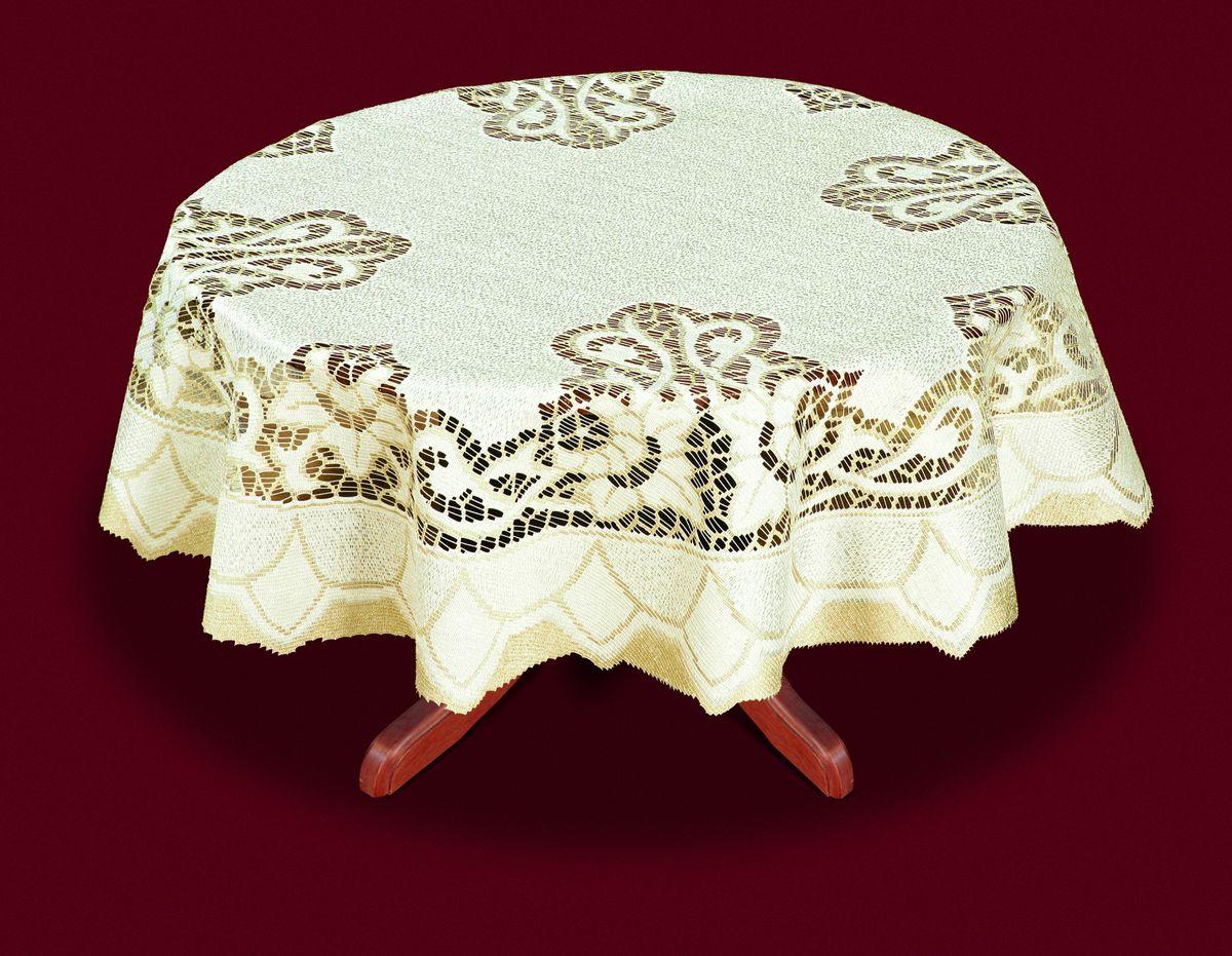 Скатерть Haft, цвет: кремовый, золотистый, диаметр 160 см. 33163-160
