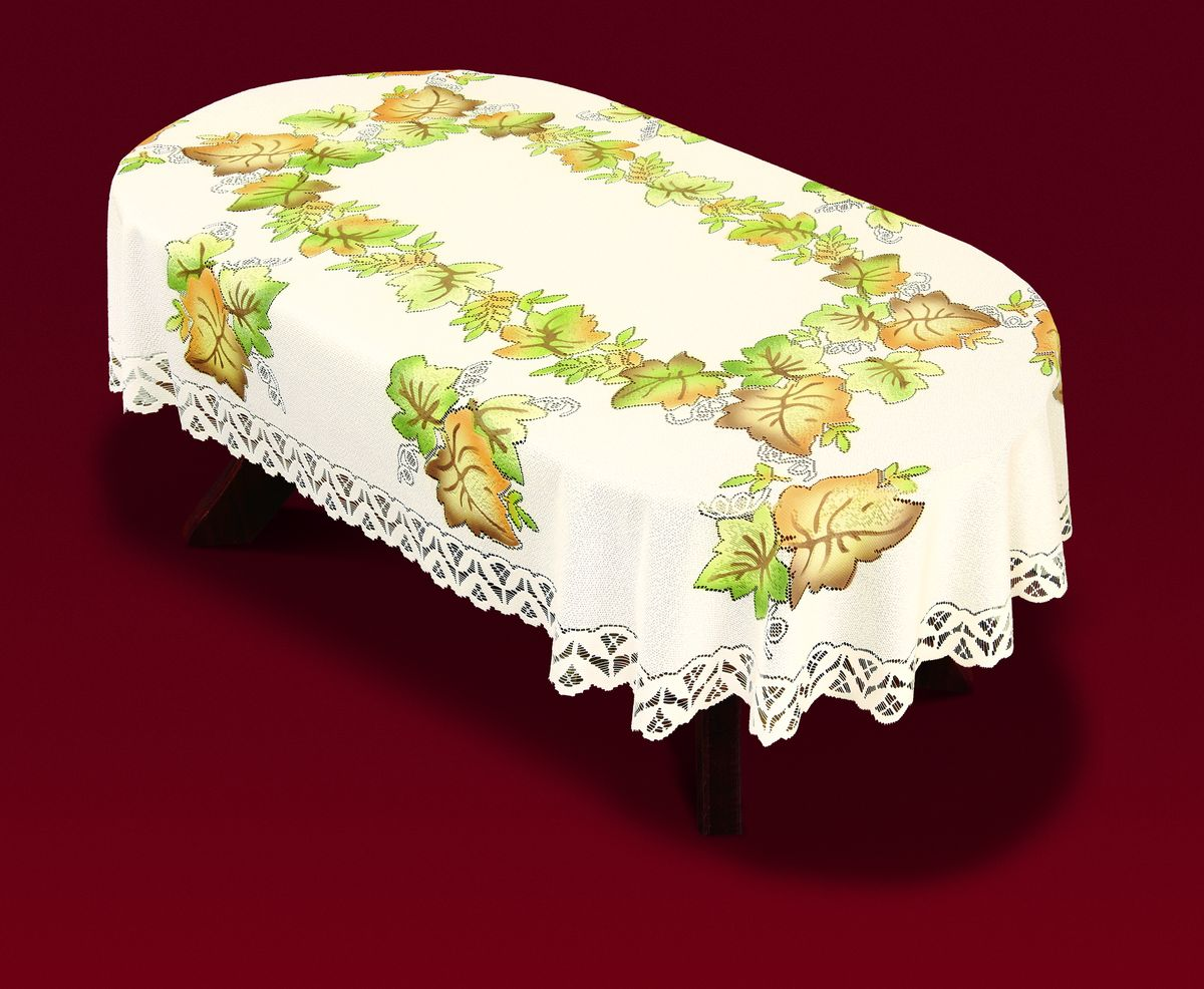 Скатерть Haft Листья, овальная, цвет: молочный, зеленый, коричневый, 100 x 160 см. 33441-100