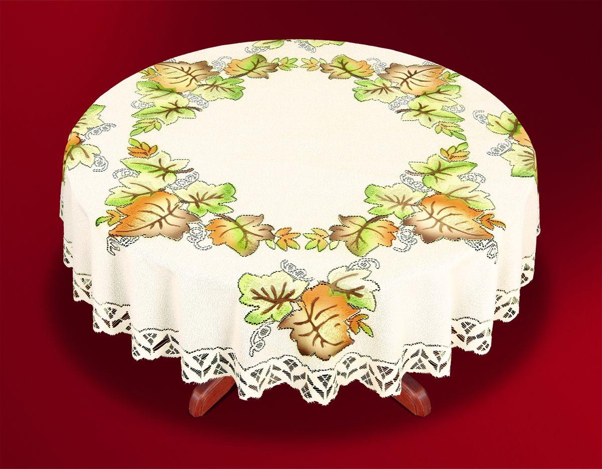 Скатерть Haft Skarb Babuni, круглая, цвет: кремовый, диаметр 150 см. 33443-150 скатерть haft skarb babuni прямоугольная цвет белый 150 x 300 см 38850 150