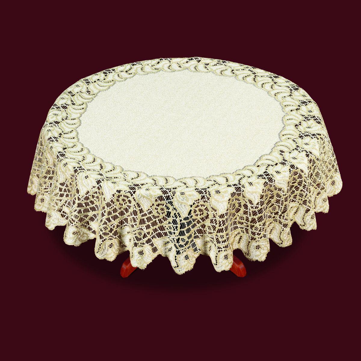Скатерть Haft, цвет: кремовый, золотистый, диаметр 140 см