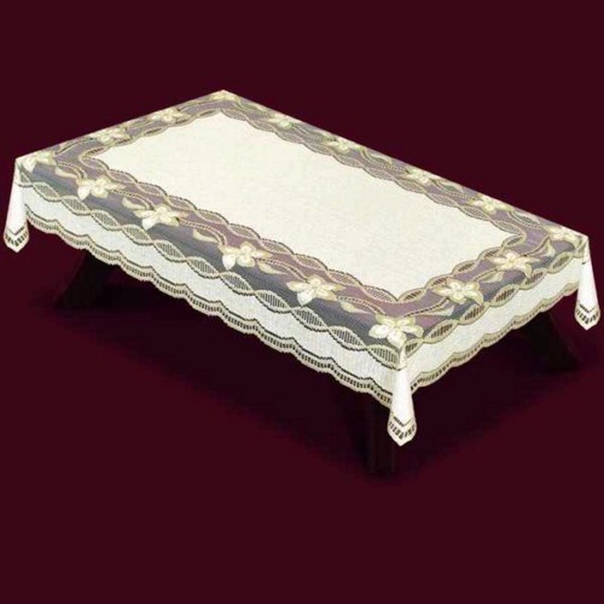 Скатерть Haft, прямоугольная, цвет: кремовый, золотистый, 150x 300 см. 42950-15042950-150Великолепная прямоугольная скатерть Haft, выполненная из полиэстера, органично впишется в интерьер любого помещения, а оригинальный дизайн удовлетворит даже самый изысканный вкус. Скатерть изготовлена из сетчатого материала с ажурным цветочным рисунком. Края скатерти ажурные.Скатерть Haft создаст праздничное настроение и станет прекрасным дополнением интерьера гостиной, кухни или столовой.
