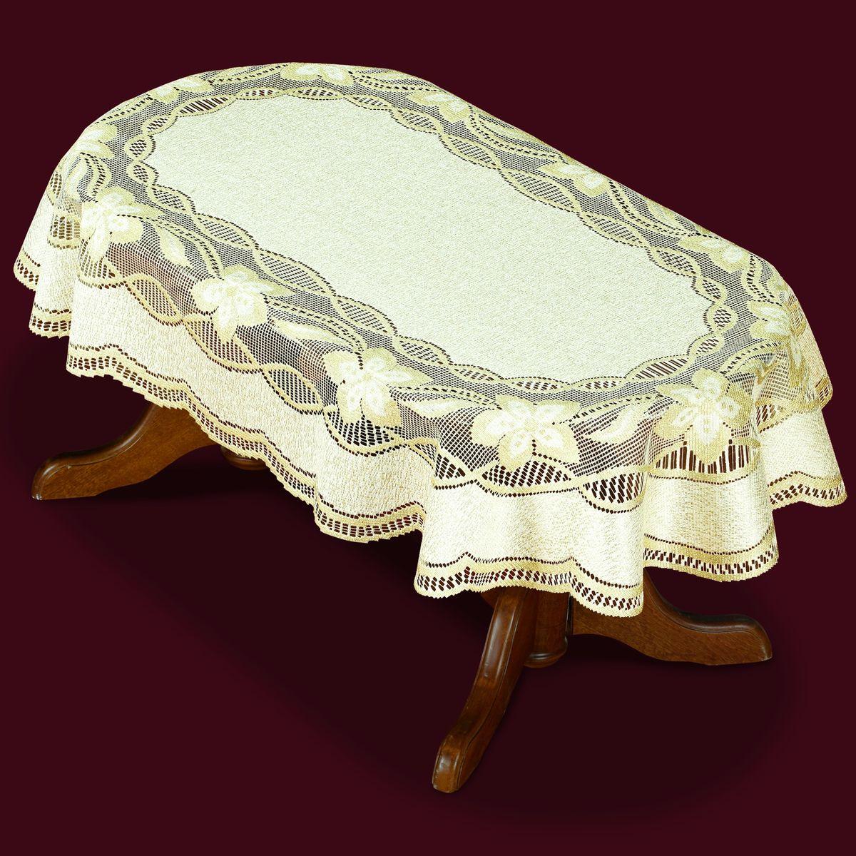 Скатерть Haft, овальная, цвет: кремовый, золотистый, 130  x 180 см. 42951-130 скатерть овальная 220х150см цвет бежевый