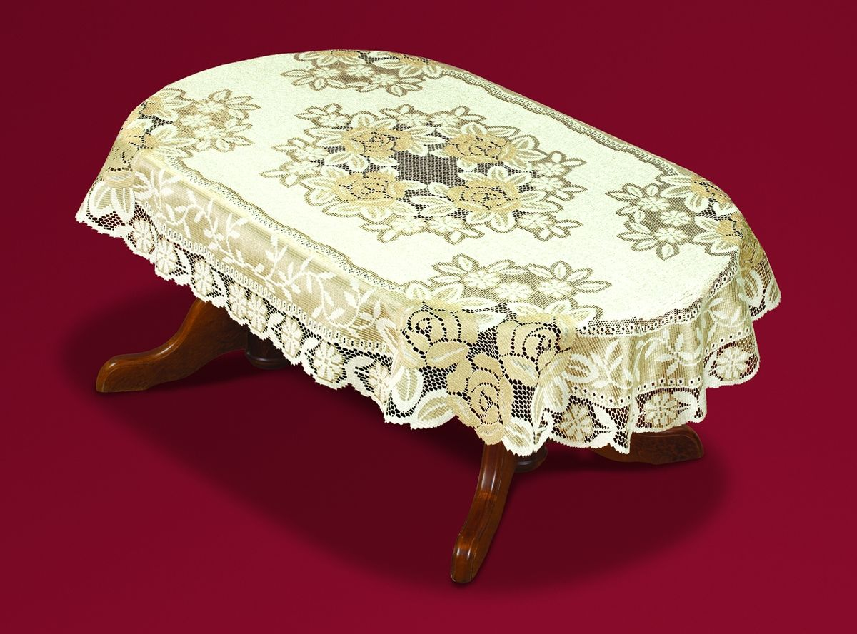 Скатерть Haft, овальная, цвет: кремовый, золотистый, 150 x 300 см. 54111-150