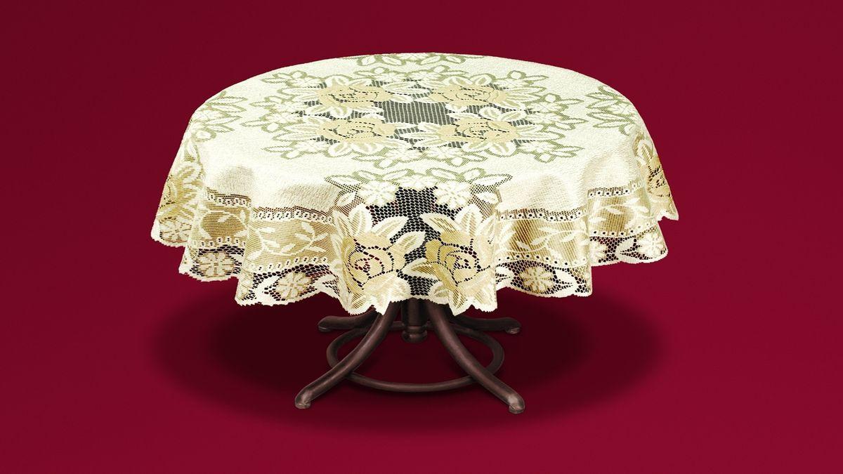 Скатерть Haft, цвет: кремовый, золотистый, диаметр 160 см. 54113-160