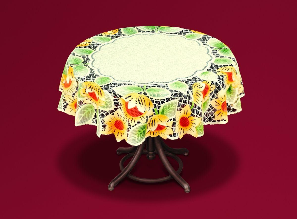 Скатерть Haft Подсолнухи, цвет: кремовый, желтый, зеленый, диаметр 120 см. 54943-