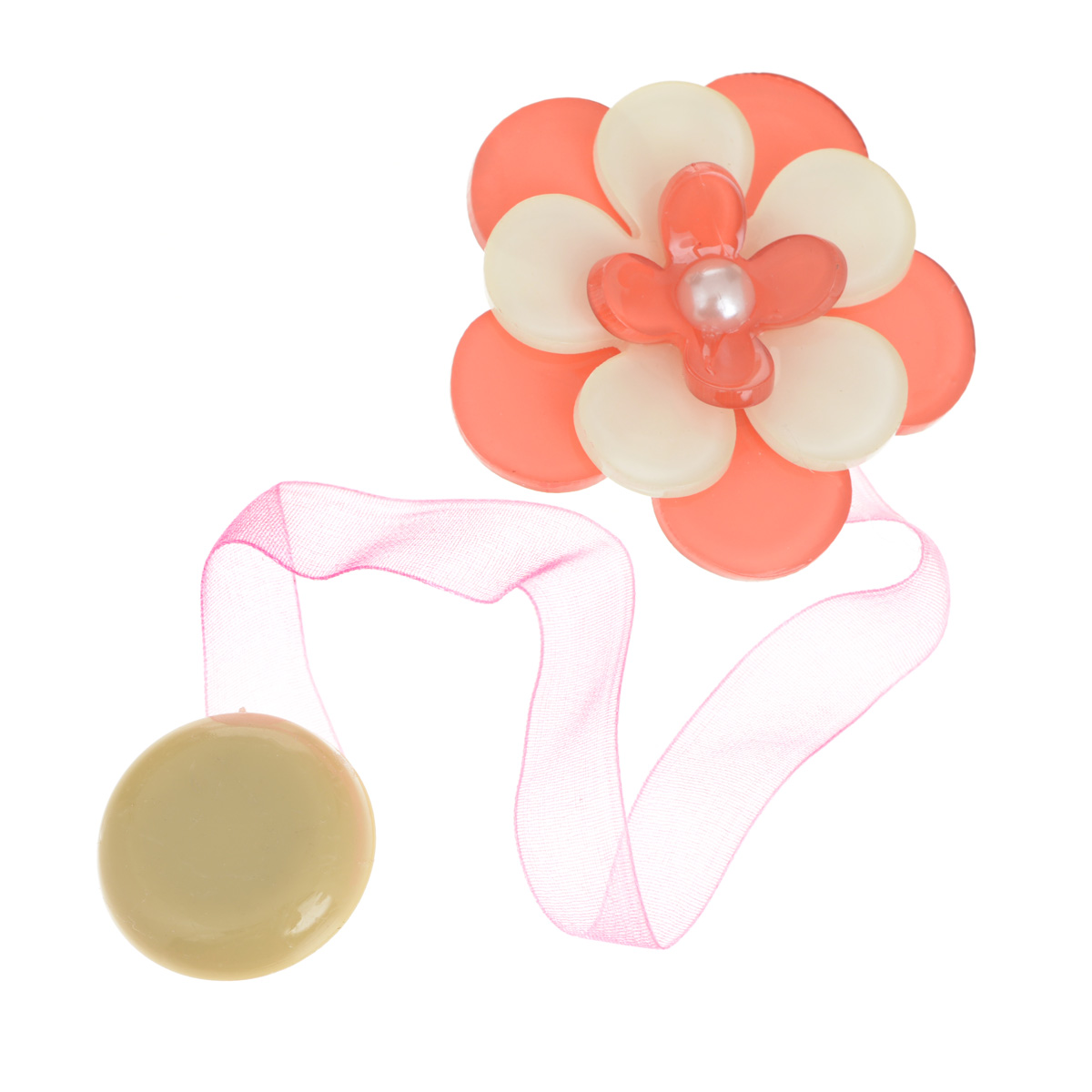 Клипса-магнит для штор Calamita Fiore, цвет: коралловый, бежевый. 7704013_5407704013_540Клипса-магнит Calamita Fiore, изготовленная из пластика и полиэстера, предназначена для придания формы шторам. Изделие представляет собой два магнита, расположенные на разных концах текстильной ленты. Один из магнитов оформлен декоративным цветком. С помощью такой магнитной клипсы можно зафиксировать портьеры, придать им требуемое положение, сделать складки симметричными или приблизить портьеры, скрепить их.Клипсы для штор являются универсальным изделием, которое превосходно подойдет как для штор в детской комнате, так и для штор в гостиной. Следует отметить, что клипсы для штор выполняют не только практическую функцию, но также являются одной из основных деталей декора, которая придает шторам восхитительный, стильный внешний вид. Диаметр декоративного цветка: 5 см. Длина ленты: 28 см.