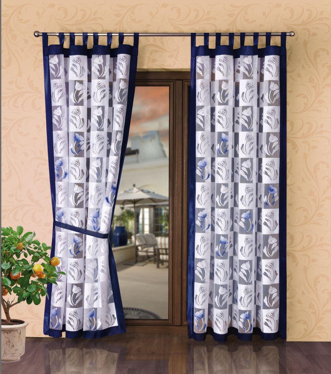 Комплект штор Wisan Zaslony, на петлях, цвет: белый, синий, высота 245 см1525Комплект штор Wisan Zaslony, выполненный из полиэстера, великолепно украсит любое окно. В комплект входят 2 тюлевые шторы на петлях и 2 подхвата.Оригинальный и яркий дизайн придает комплекту особый стиль и шарм. Качественный материал и тонкое плетение, нежная цветовая гамма и роскошное исполнение - все это делает шторы Wisan Zaslony замечательным дополнением интерьера помещения.