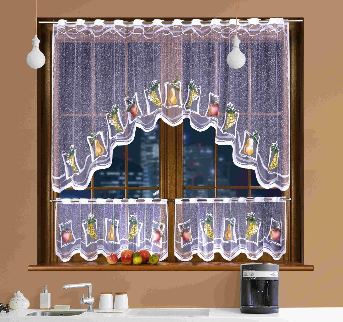 Комплект штор для кухни Wisan Martynika, на кулиске, цвет: белый, высота 250 см комплект штор для кухни wisan на ленте цвет белый черный высота 250 см 3384