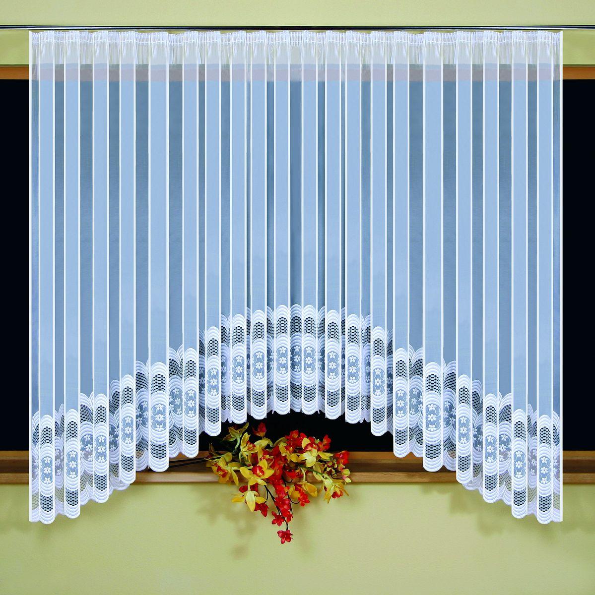 Гардина Wisan Monika, на ленте, цвет: белый, высота 160 см5296Гардина Wisan Monika изготовлена из белого полиэстера, легкой, тонкой ткани. Изделие украшено изящным орнаментом.Тонкое плетение и оригинальный дизайн привлекут к себе внимание и органично впишутся в интерьер комнаты.Оригинальное оформление гардины внесет разнообразие и подарит заряд положительного настроения. Гардина оснащена шторной лентой для крепления на карниз.