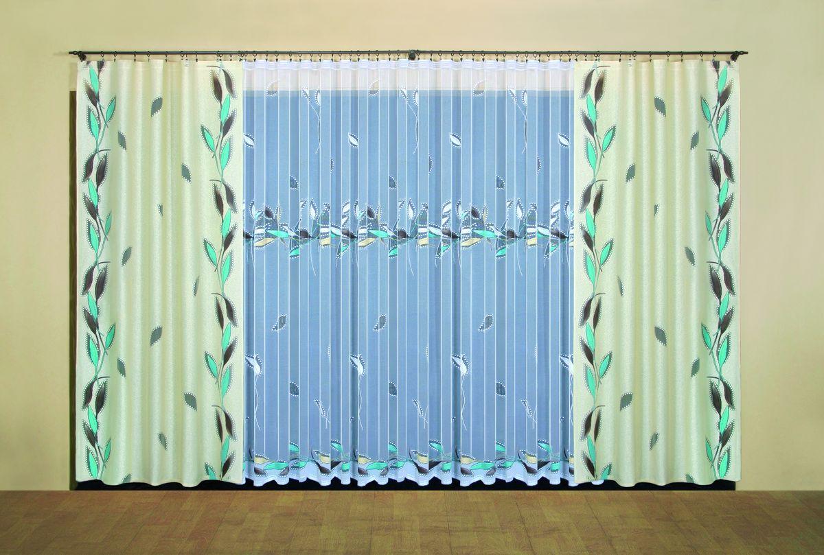 Комплект штор Wisan Leokadia, на ленте, цвет: бежевый, белый, бирюзовый, высота 250 см5367Комплект штор Wisan Leokadia выполненный из полиэстера, великолепно украсит любое окно. В комплект входят 2 шторы и тюль. Оригинальный узор придает комплекту особый стиль и шарм. Тонкое жаккардовое плетение, нежная цветовая гамма и роскошное исполнение - все это делает шторы Wisan Leokadia замечательным дополнением интерьера помещения.Комплект оснащен шторной лентой для красивой сборки. В комплект входит: Штора - 2 шт. Размер (ШхВ): 150 см х 250 см. Тюль - 1 шт. Размер (ШхВ): 500 см х 250 см.Фирма Wisan на польском рынке существует уже более пятидесяти лет и является одной из лучших польских фабрик по производству штор и тканей. Ассортимент фирмы представлен готовыми комплектами штор для гостиной, детской, кухни, а также текстилем для кухни (скатерти, салфетки, дорожки, кухонные занавески). Модельный ряд отличает оригинальный дизайн, высокое качество. Ассортимент продукции постоянно пополняется.