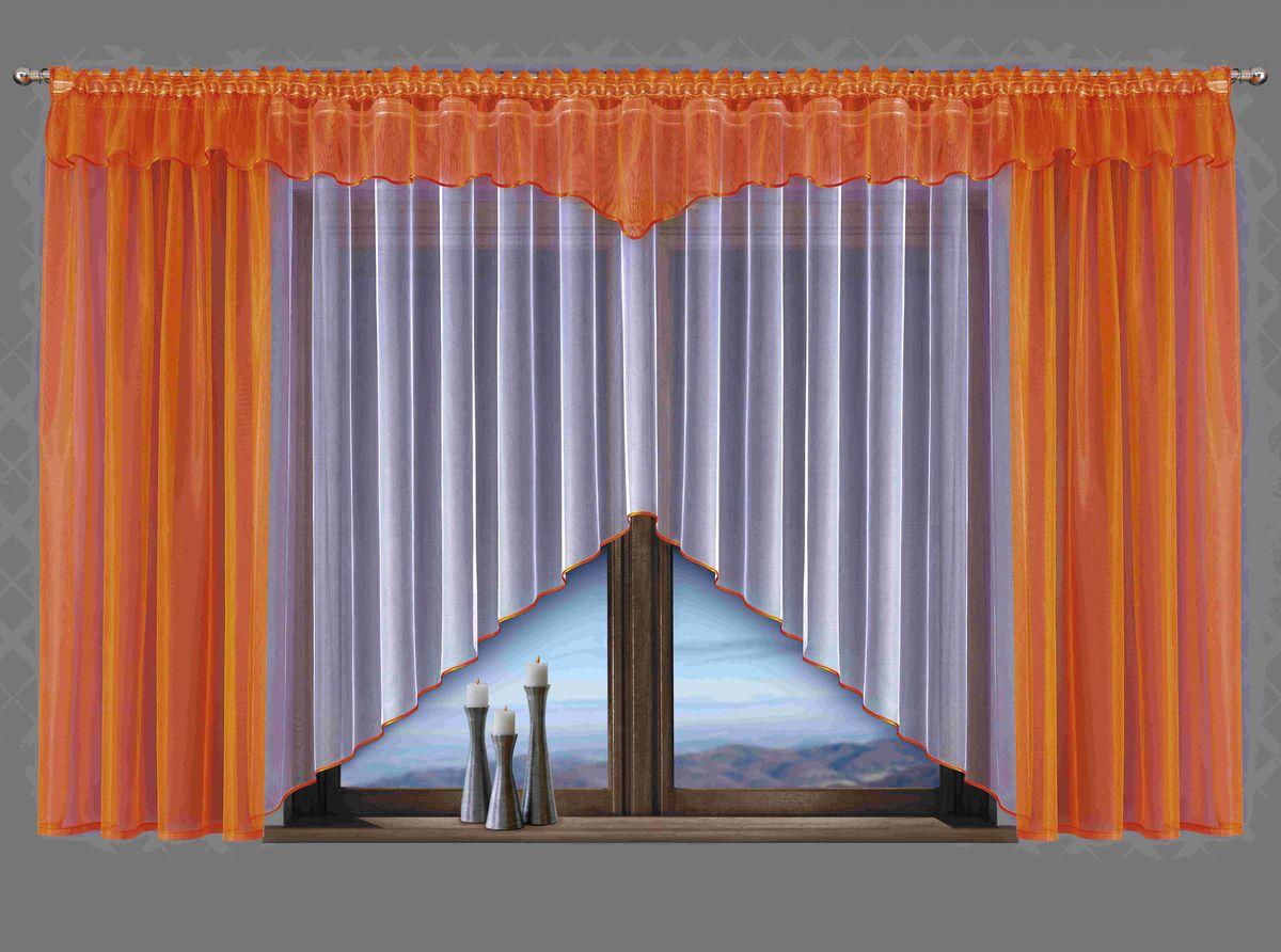 Комплект штор для кухни Wisan Celina, на ленте, цвет: белый, оранжевый, высота 180 см5483Комплект штор Wisan Celina выполненный из полиэстера, великолепно украсит кухонное окно. В комплект входят 2 шторы, тюль и ламбрекен. Оригинальный и яркий дизайн придает комплекту особый стиль и шарм. Тонкое плетение, нежная цветовая гамма и роскошное исполнение - все это делает шторы Wisan Celina замечательным дополнением интерьера помещения. Комплект оснащен шторной лентой для красивой сборки. В комплект входит: Штора - 2 шт. Размер (ШхВ): 150 см х 180 см. Тюль - 1 шт. Размер (ШхВ): 400 см х 180 см.Ламбрекен - 1 шт. Размер (ШхВ): 500 см х 50 см.Фирма Wisan на польском рынке существует уже более пятидесяти лет и является одной из лучших польских фабрик по производству штор и тканей. Ассортимент фирмы представлен готовыми комплектами штор для гостиной, детской, кухни, а также текстилем для кухни (скатерти, салфетки, дорожки, кухонные занавески). Модельный ряд отличает оригинальный дизайн, высокое качество. Ассортимент продукции постоянно пополняется.
