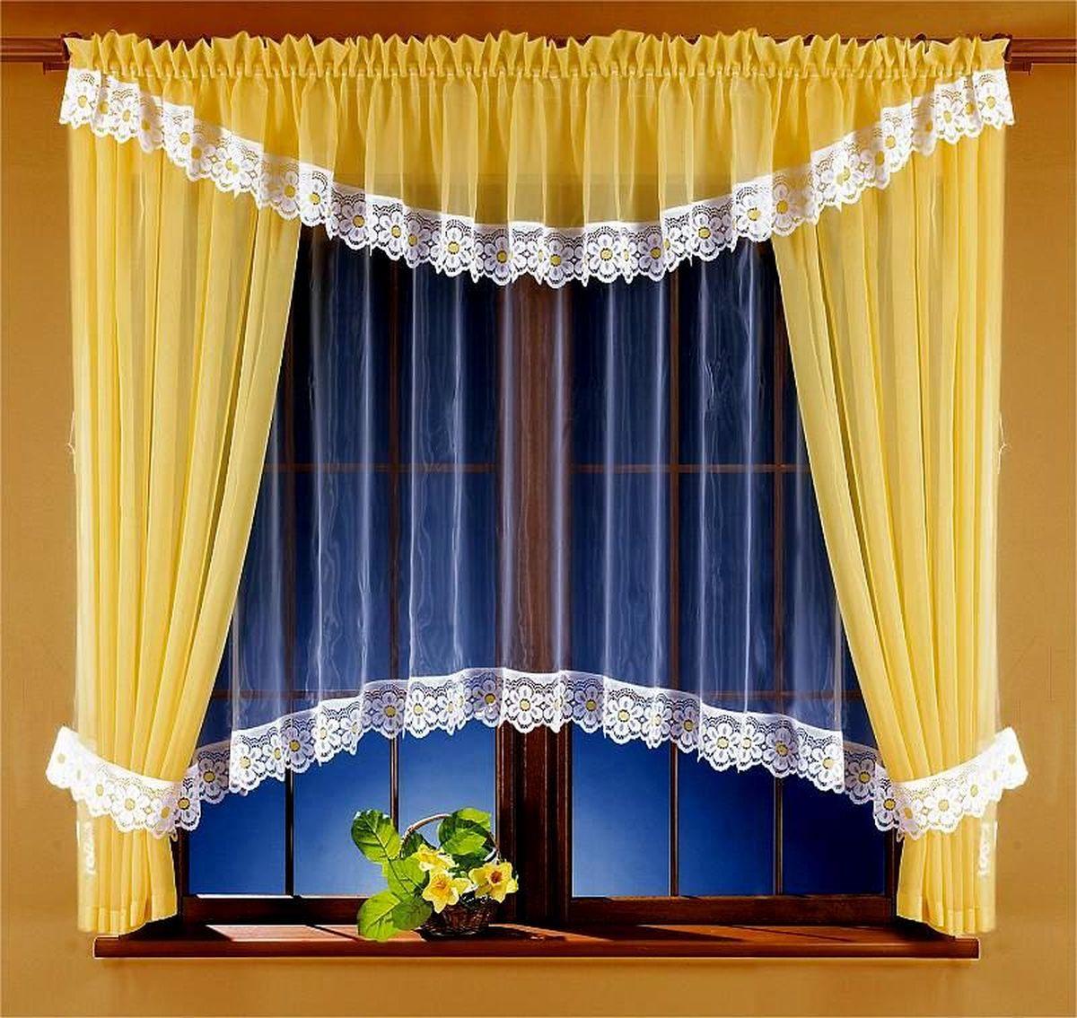 Комплект штор Wisan Ryta, на ленте, цвет: белый, желтый, высота 170 см5746Комплект штор Wisan Ryta выполненный из полиэстера, великолепно украсит любое окно. В комплект входят 2 шторы, тюль, ламбрекен и 2 подхвата.Оригинальный и яркий дизайн придают комплекту особый стиль и шарм. Качественный материал, нежная цветовая гамма и роскошное исполнение - все это делает шторы Wisan Ryta замечательным дополнением интерьера помещения.Комплект оснащен шторной лентой для красивой сборки. В комплект входит: Штора - 2 шт. Размер (ШхВ): 160 см х 170 см.Тюль - 1 шт. Размер (ШхВ): 360 см х 160 см. Ламбрекен - 1 шт. Размер (ШхВ): 400 см х 40 см. Подхват - 2 шт.Фирма Wisan на польском рынке существует уже более пятидесяти лет и является одной из лучших польских фабрик по производству штор и тканей. Ассортимент фирмы представлен готовыми комплектами штор для гостиной, детской, кухни, а также текстилем для кухни (скатерти, салфетки, дорожки, кухонные занавески). Модельный ряд отличает оригинальный дизайн, высокое качество. Ассортимент продукции постоянно пополняется.