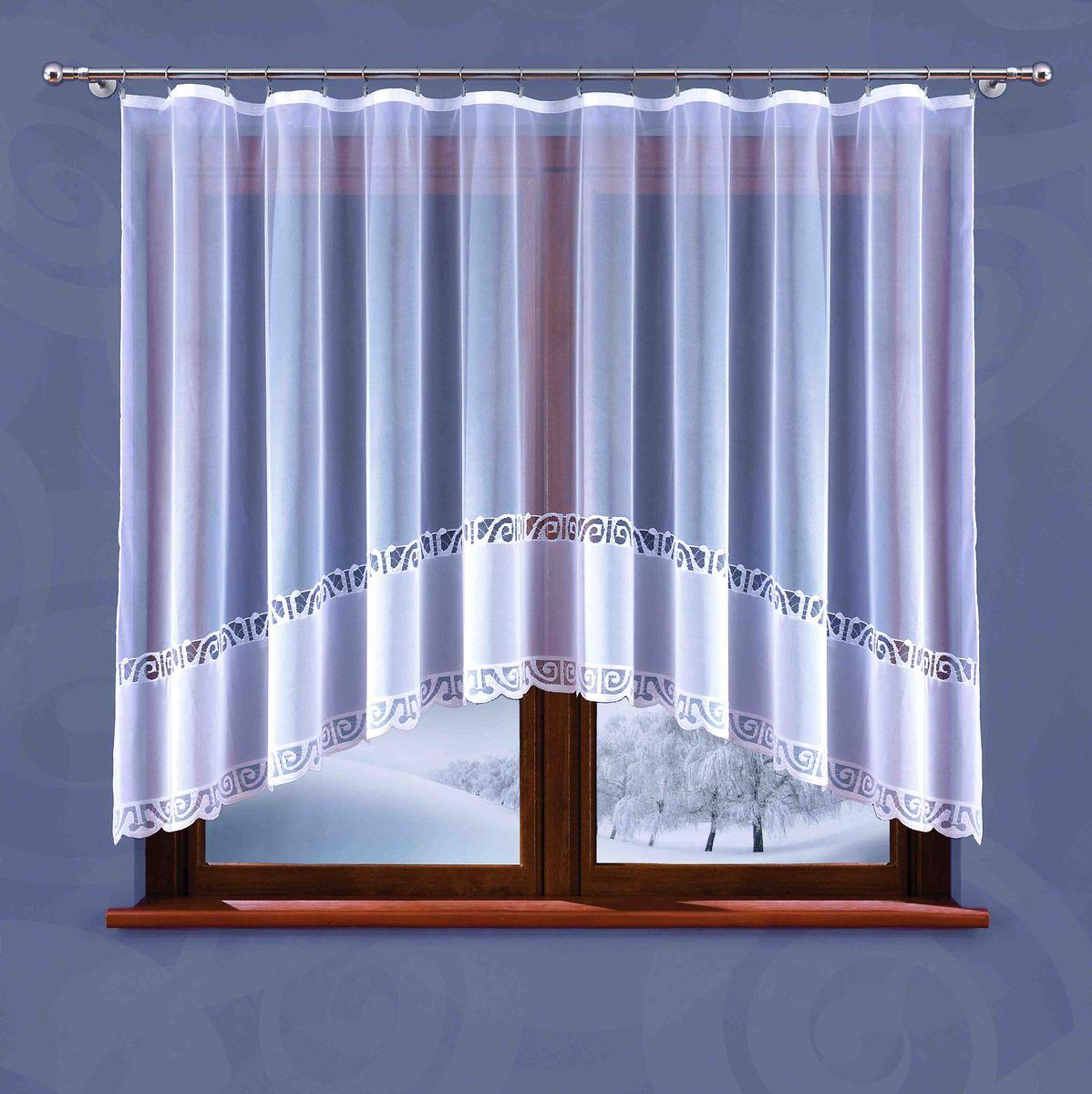 Гардина Wisan Weronika, на ленте, цвет: белый, высота 150 см5884Гардина Wisan Weronika, изготовлена из полиэстера, легкой, тонкой ткани. Изделие украшено орнаментом. Тонкое плетение и оригинальный дизайн привлекут к себе внимание и органично впишутся в интерьер комнаты. Оригинальное оформление гардины внесет разнообразие и подарит заряд положительного настроения.Гардина оснащена шторной лентой для крепления на карниз.