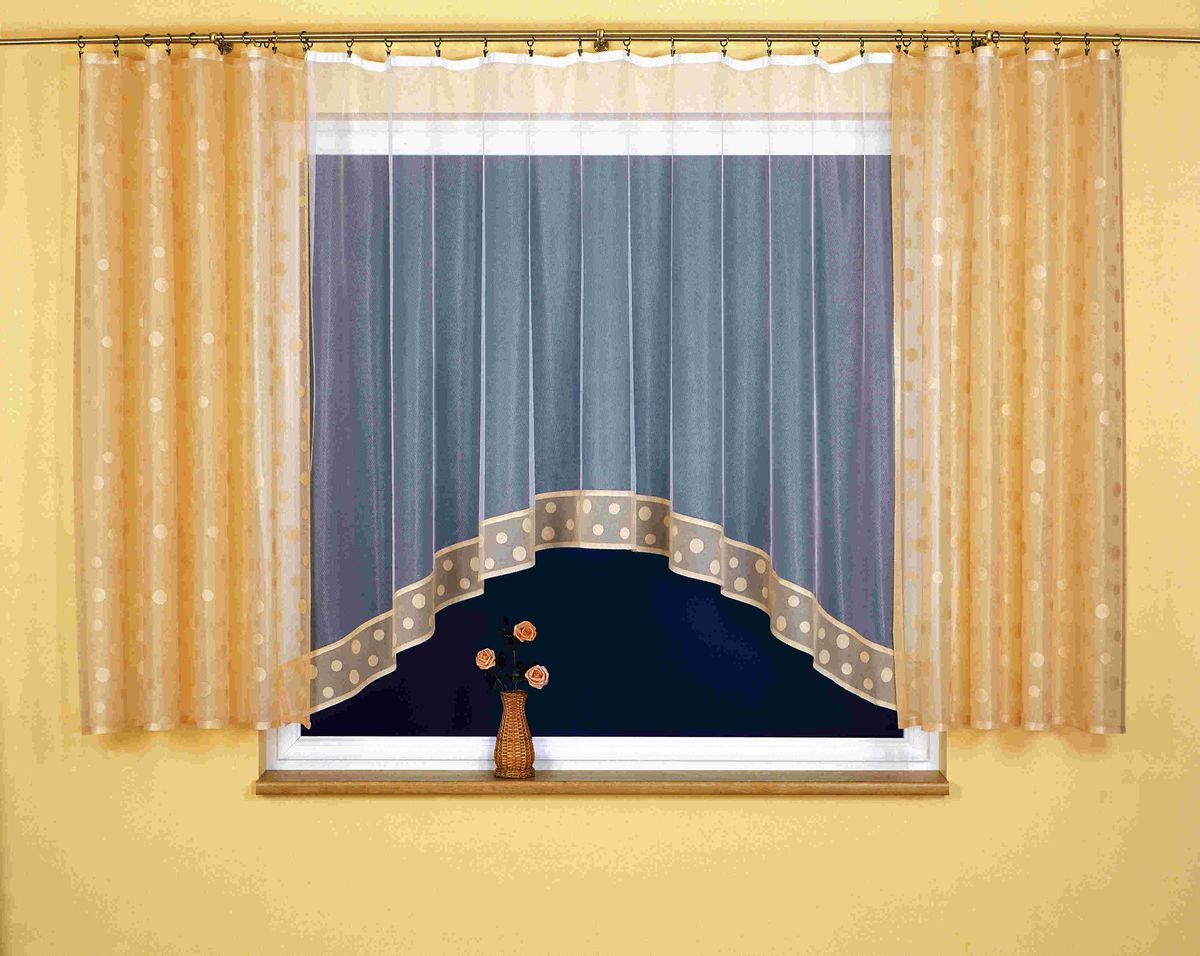 Комплект штор для кухни Wisan Teresa, на ленте, цвет: белый, коричневый, высота 170 см