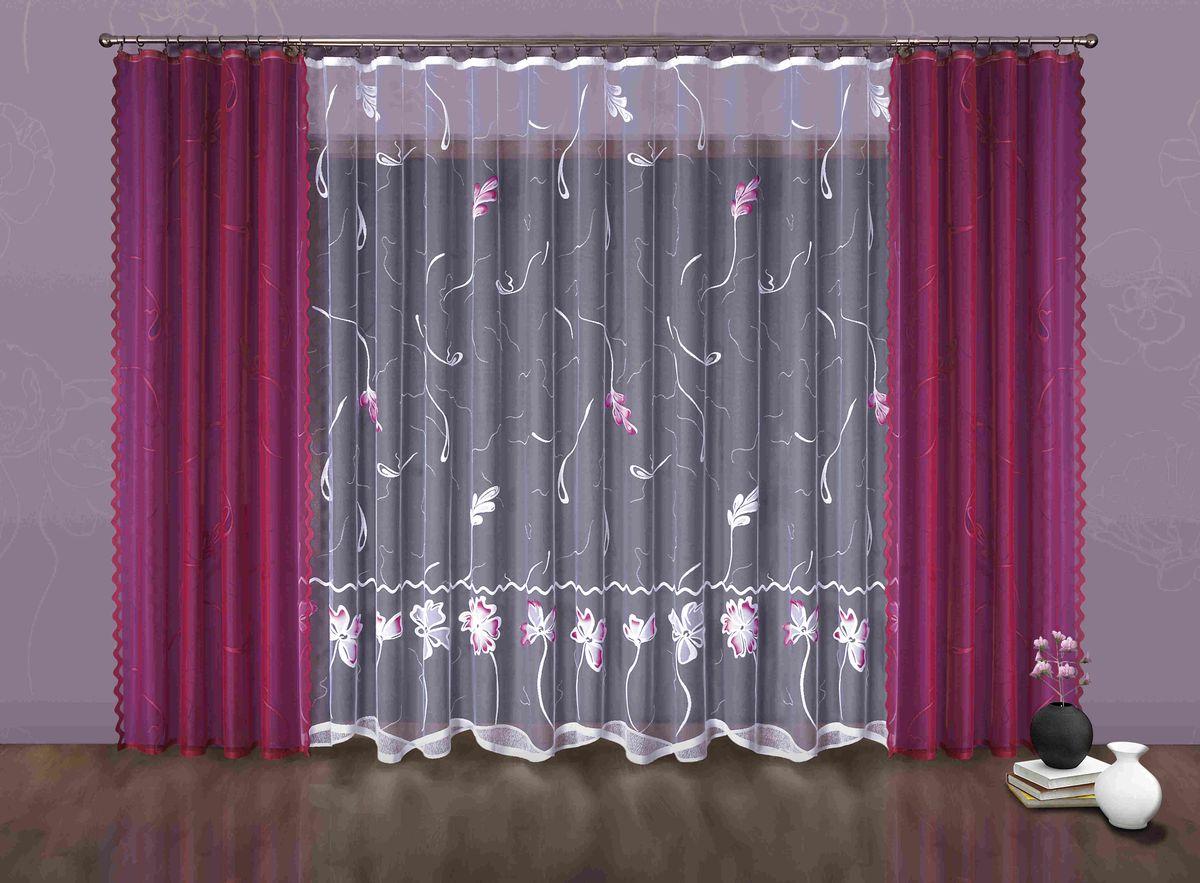 Комплект штор Wisan Juiza, на ленте, цвет: малиновый, белый, высота 250 см6885Комплект штор Wisan Juiza выполненный из полиэстера, великолепно украсит любое окно. Тонкое плетение, оригинальный дизайн привлекут к себе внимание и органично впишутся в интерьер. В комплект входят 2 шторы и тюль. Кружевной цветочный узор придает комплекту особый стиль и шарм. Тонкое жаккардовое плетение, нежная цветовая гамма и роскошное исполнение - все это делает шторы Wisan Juiza замечательным дополнением интерьера помещения. Комплект оснащен шторной лентой для красивой сборки. В комплект входит: Штора - 2 шт. Размер (ШхВ): 150 см х 250 см. Тюль - 1 шт. Размер (ШхВ): 500 см х 250 см.Фирма Wisan на польском рынке существует уже более пятидесяти лет и является одной из лучших польских фабрик по производству штор и тканей. Ассортимент фирмы представлен готовыми комплектами штор для гостиной, детской, кухни, а также текстилем для кухни (скатерти, салфетки, дорожки, кухонные занавески). Модельный ряд отличает оригинальный дизайн, высокое качество. Ассортимент продукции постоянно пополняется.