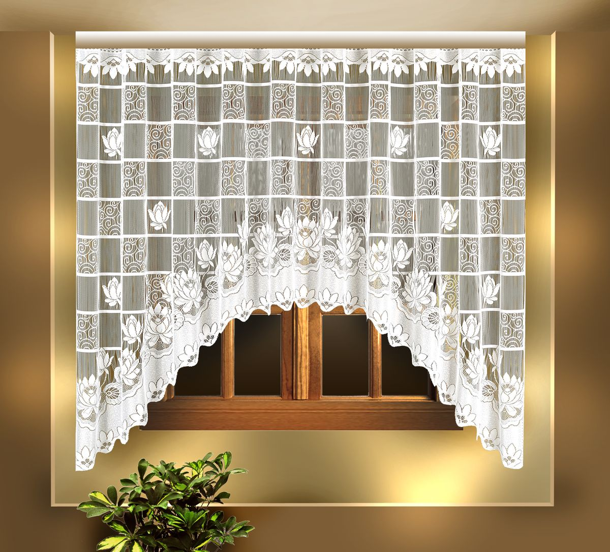 """Воздушная гардина """"Zlata Korunka"""", изготовленная из полиэстера белого цвета, станет  великолепным украшением любого окна. Гардина выполнена в виде арки и декорирована  цветочным узором.  Тонкое плетение и оригинальный дизайн привлекут к себе внимание и органично впишутся в  интерьер. Верхняя часть гардины не оснащена креплениями."""