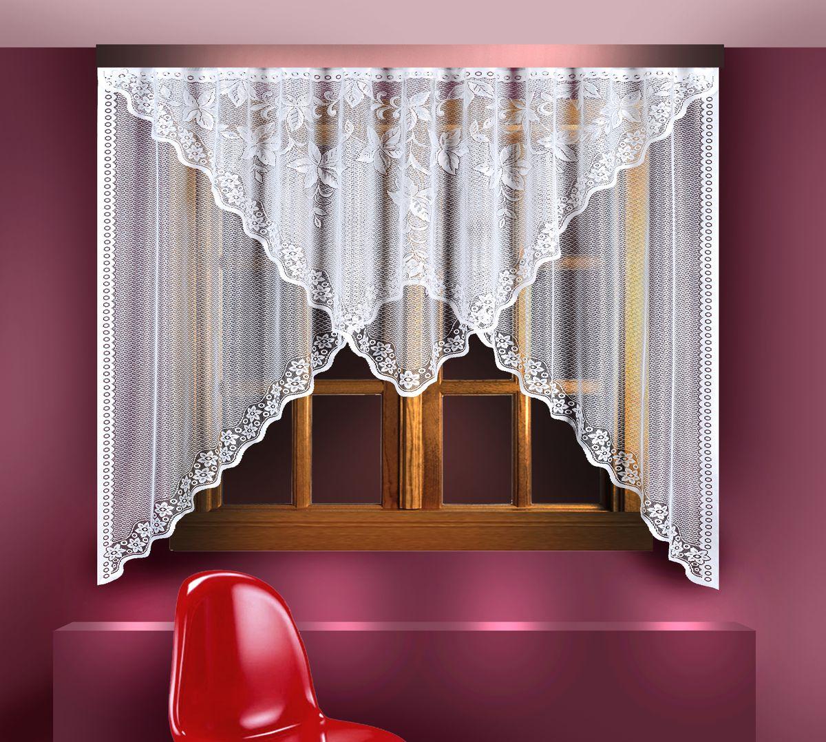 Гардина Zlata Korunka, цвет: белый, высота 180 см. 8881388813Воздушная гардина Zlata Korunka, изготовленная из полиэстера белого цвета, станет великолепным украшением любого окна. Гардина выполнена из сетчатого материала и декорирована цветочным орнаментом по краям. Вверху гардина оснащена ламбрекеном, выполненным в форме треугольника и украшенным цветочным рисунком.Тонкое плетение и оригинальный дизайн привлекут к себе внимание и органично впишутся в интерьер. Верхняя часть гардины не оснащена креплениями.