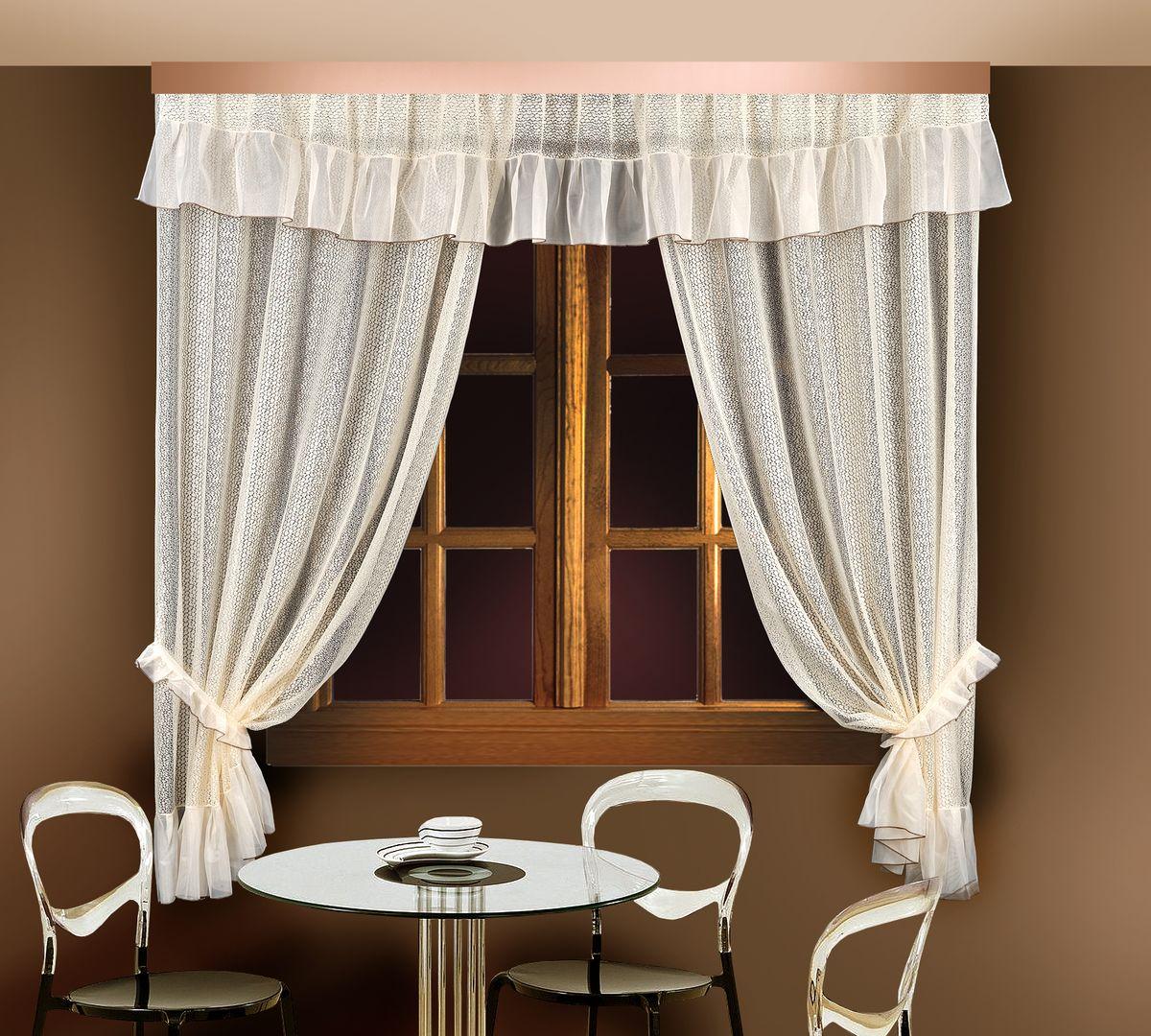 Комплект штор для кухни Zlata Korunka, цвет: кремовый, высота 250 см. 88835