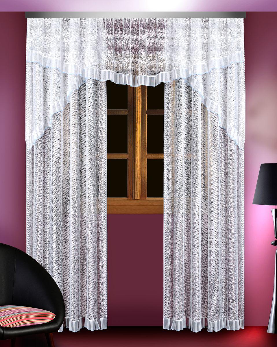 Комплект штор для кухни Zlata Korunka, цвет: белый, высота 250 см. 8883788837Комплект штор Zlata Korunka, изготовленный из полиэстера белого цвета, присутствует голубая каемка в верхней части. Комплект выполнен из тонкого сетчатого материала. В комплект входят 2 шторы и ламбрекен.Тонкое плетение и оригинальный дизайн привлекут к себе внимание и органично впишутся в интерьер. Верхняя часть комплекта не оснащена креплениями.В комплект входит: Ламбрекен: 1 шт. Размер (Ш х В): 300 см х 55 см. Штора: 2 шт. Размер (Ш х В): 150 см х 250 см.