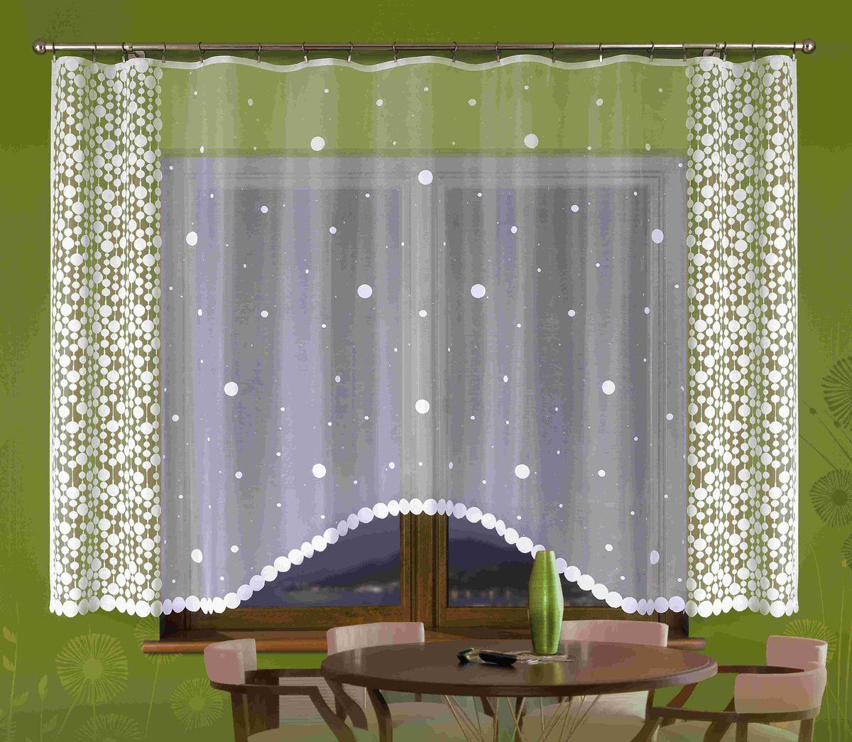 Гардина Wisan Halka, цвет: белый, высота 180 смE129Воздушная гардина Wisan Halka, изготовленная из полиэстера, станет великолепным украшением любого окна. Изделие, оформленное принтом в горох, привлечет к себе внимание и органично впишется в интерьер комнаты.Оригинальное оформление гардины внесет разнообразие и подарит заряд положительного настроения. Верхняя часть гардины не оснащена креплениями.