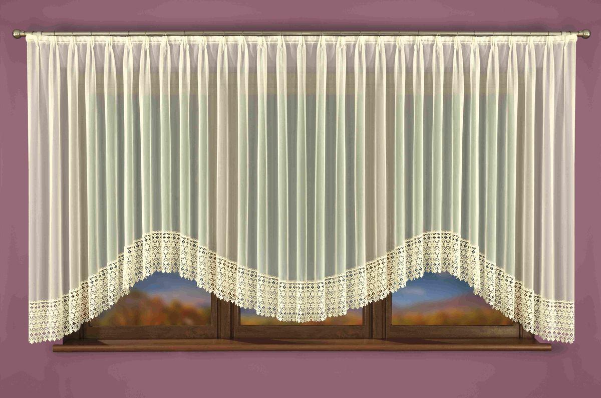 Гардина Wisan Isaura, на ленте, цвет: слоновая кость, высота 160 см. W039W040Гардина Wisan Isaura, изготовлена из полиэстера, легкой, тонкой ткани. Нижняя часть гардины оформлена ажурным орнаментом. Тонкое плетение и оригинальный дизайн привлекут к себе внимание и органично впишутся в интерьер комнаты. Оригинальное оформление гардины внесет разнообразие и подарит заряд положительного настроения.Гардина оснащена шторной лентой для крепления на карниз.