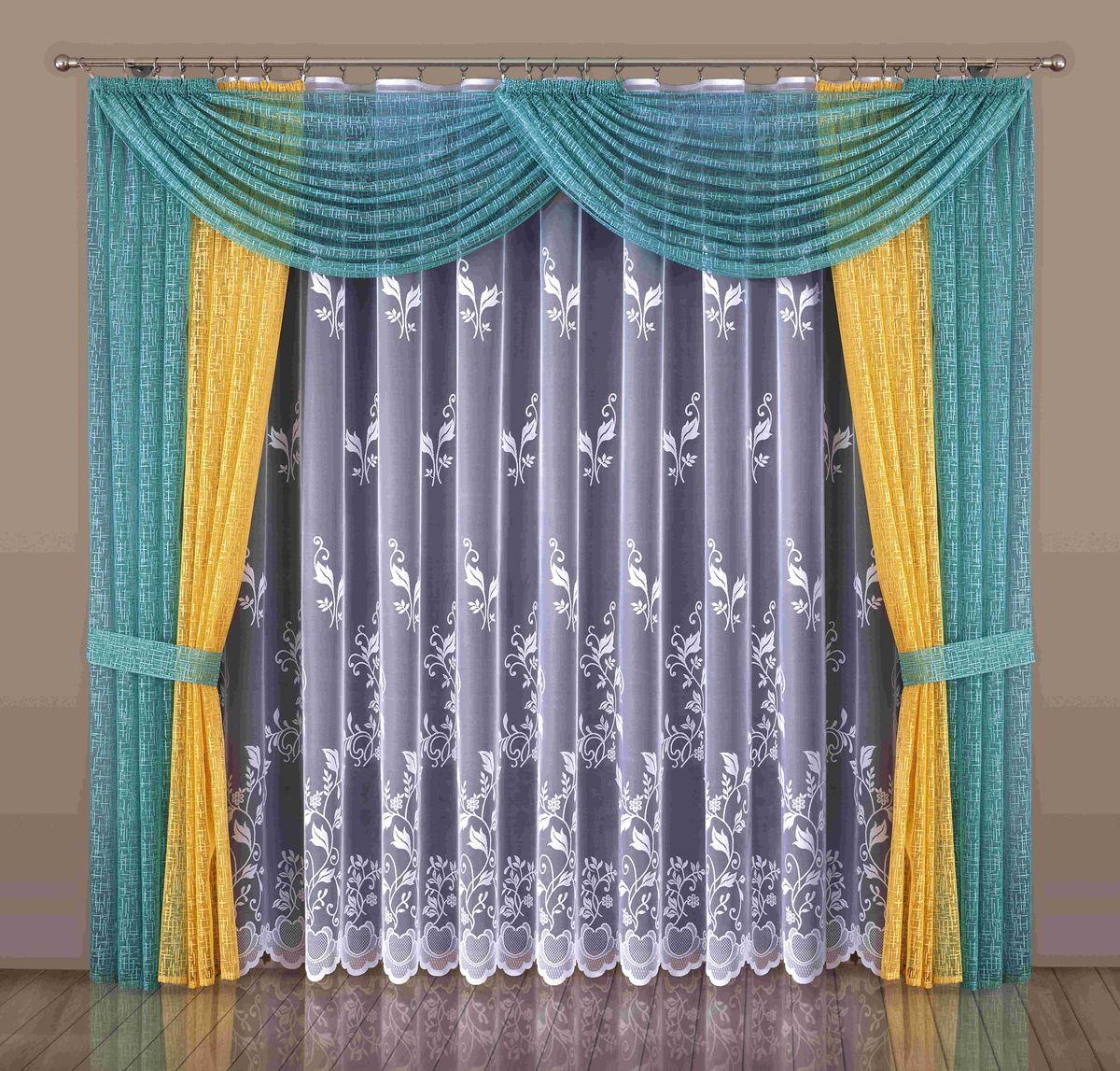 Комплект штор Wisan Maryla, на ленте, цвет: оранжевый, бирюзовый, высота 250 смW541Комплект штор Wisan Maryla выполненный из полиэстера, великолепно украсит любое окно. Тонкое плетение, оригинальный дизайн привлекут к себе внимание и органично впишутся в интерьер. Комплект состоит из 2 штор, тюля, ламбрекена и 2 подхватов. Кружевной узор придает комплекту особый стиль и шарм. Тонкое жаккардовое плетение, нежная цветовая гамма и роскошное исполнение - все это делает шторы Wisan Maryla замечательным дополнением интерьера помещения. Все предметы комплекта оснащены шторной лентой для красивой драпировки. В комплект входит: Штора - 2 шт. Размер (ШхВ): 250 см х 250 см. Тюль - 1 шт. Размер (ШхВ): 450 см х 250 см. Ламбрекен - 1 шт. Размер (ШхВ): 300 см х 55 см.Подхваты - 2 шт. Фирма Wisan на польском рынке существует уже более пятидесяти лет и является одной из лучших польских фабрик по производству штор и тканей. Ассортимент фирмы представлен готовыми комплектами штор для гостиной, детской, кухни, а также текстилем для кухни (скатерти, салфетки, дорожки, кухонные занавески). Модельный ряд отличает оригинальный дизайн, высокое качество. Ассортимент продукции постоянно пополняется.