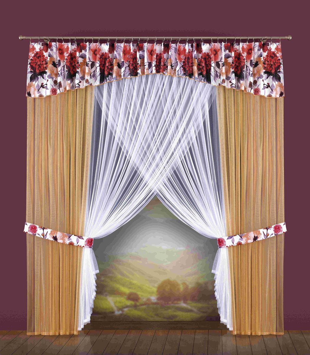 Комплект штор Wisan Antonina, на ленте, цвет: белый, бежевый, красный, высота 250 см комплект штор wisan lara на ленте цвет оранжевый белый высота 250 см