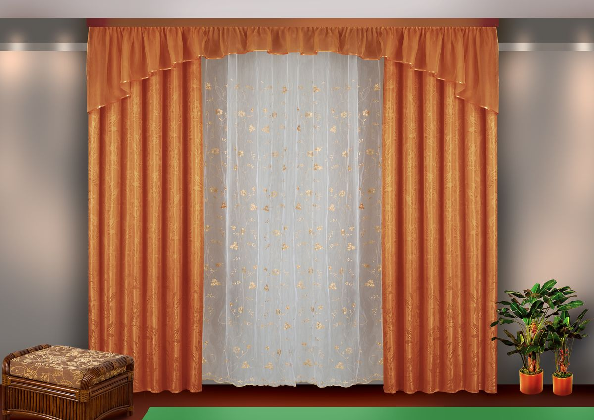 Комплект штор Zlata Korunka, на ленте, цвет: коричневый, высота 250 см. Б113Б113 коричневыйКомплект штор Zlata Korunka великолепно украсит любое окно. Комплект состоит из двух портьер, тюля и ламбрекена. Тюль выполнен из органзы и украшен цветочной вышивкой, ламбрекен выполнен из вуалевой ткани, портьеры изготовлены из жаккардовой ткани с изящным узором. Оригинальный дизайн и контрастная цветовая гамма привлекут к себе внимание и органично впишутся в интерьер комнаты. Все предметы комплекта оснащены шторной лентой для красивой драпировки.В комплект входит:Ламбрекен: 1 шт. Размер (Ш х В): 450 см х 45 см.Тюль: 1 шт. Размер (Ш х В): 350 см х 250 см. Штора: 2 шт. Размер (Ш х В): 140 см х 250 см.