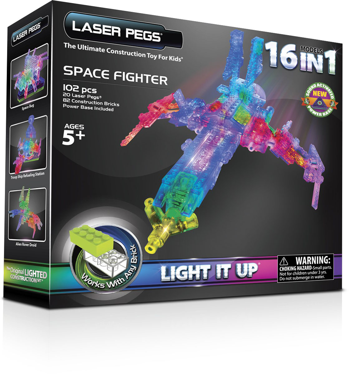 Laser Pegs Конструктор Космос 16 в 1 форма для пельменей мультидом квадрат цвет желтый