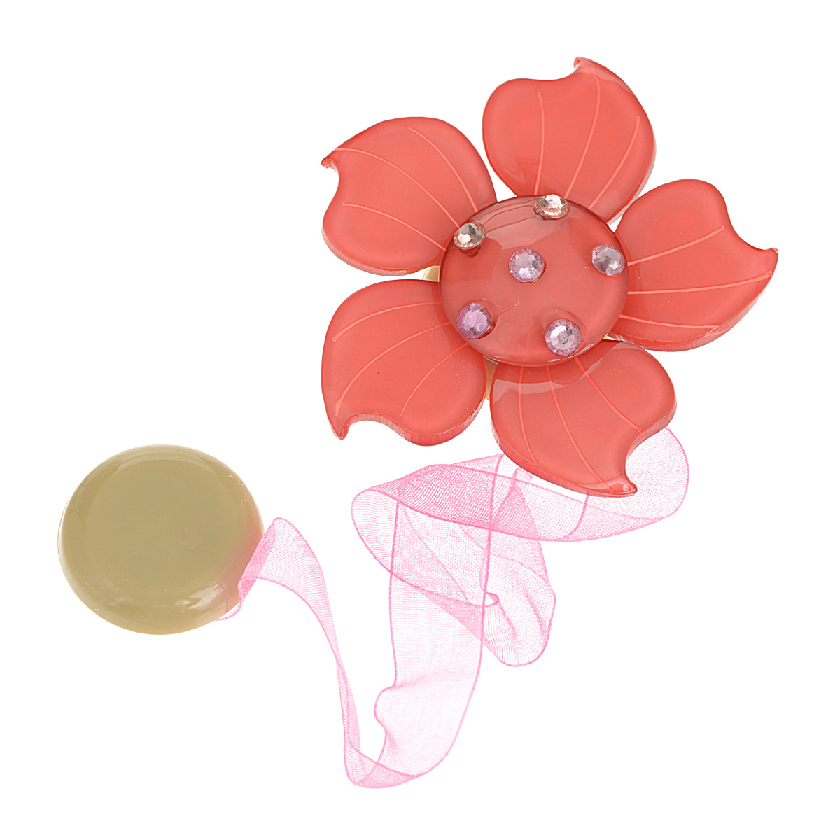 Клипса-магнит для штор Calamita Fiore, цвет: коралловый. 7704007_5407704007_540Клипса-магнит Calamita Fiore, изготовленная из пластика и текстиля,предназначена для придания формы шторам. Изделие представляет собой двамагнита, расположенные на разных концах текстильной ленты. Один из магнитовоформлен декоративным цветком и украшен стразами. С помощью такоймагнитной клипсы можно зафиксировать портьеры, придать им требуемоеположение, сделать складки симметричными или приблизить портьеры, скрепитьих.Клипсы для штор являются универсальным изделием, которое превосходноподойдет как для штор в детской комнате, так и для штор в гостиной. Следуетотметить, что клипсы для штор выполняют не только практическую функцию, нотакже являются одной из основных деталей декора этого изделия, котораяпридает шторам восхитительный, стильный внешний вид. Диаметр декоративного цветка: 6 см. Диаметр магнита: 2,5 см. Длина ленты: 28 см.