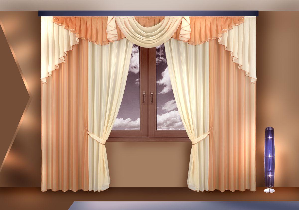 Комплект штор Zlata Korunka, на ленте, цвет: бежевый, высота 250 см. Б120 римская штора tanaro quelle my home 736242 в ш ок 140 140 см