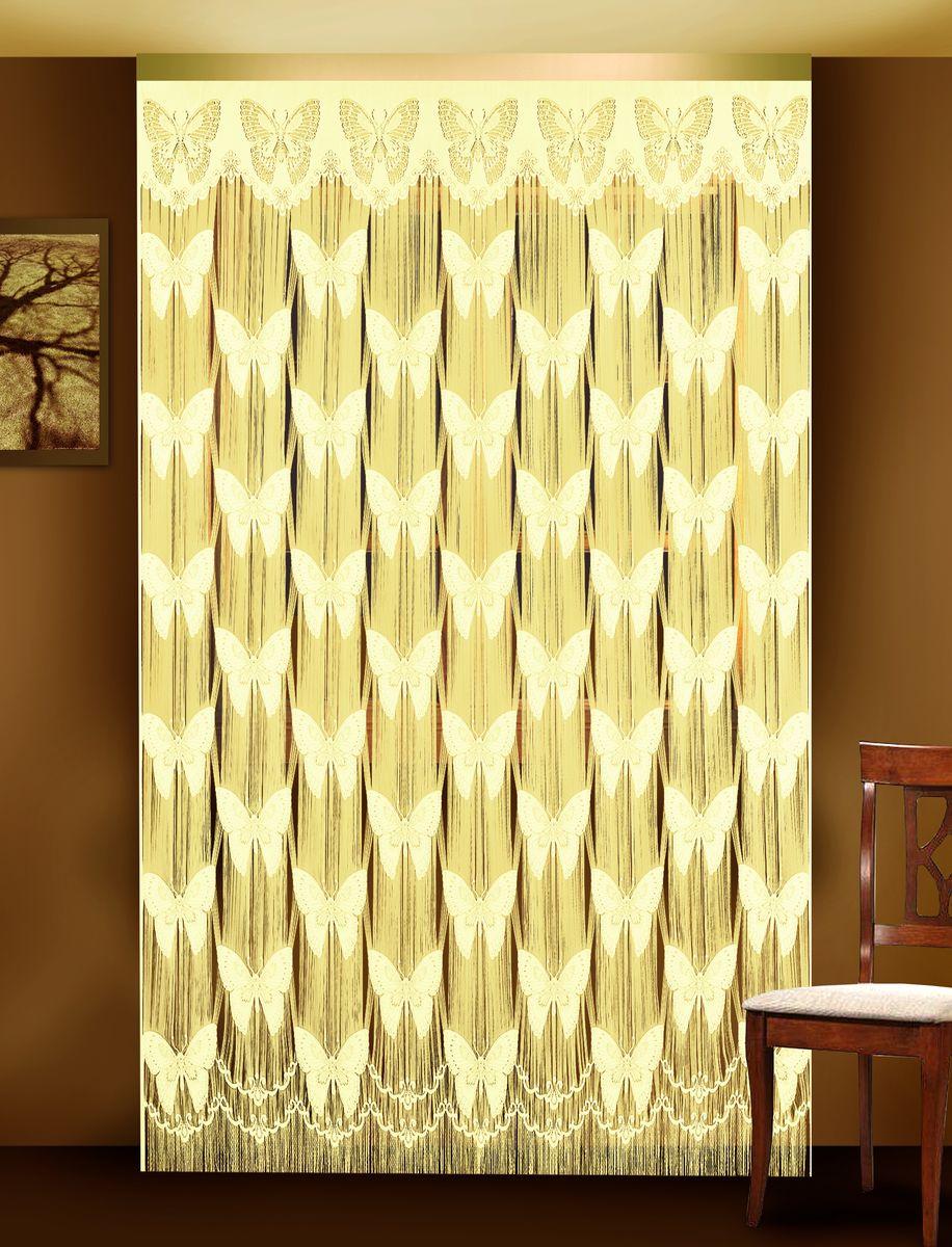 Гардина-лапша Zlata Korunka, цвет: кремовый, высота 250 см. 8880188801Гардина-лапша Zlata Korunka, изготовленная из полиэстера кремового цвета, станет великолепным украшением окна. Гардина выполнена из тонкой бахромы и декорирована вставками в виде ажурных бабочек. Тонкое плетение, необычный дизайн и нежная цветовая гамма привлекут внимание и органично впишутся в интерьер помещения. Верхняя часть гардины не оснащена креплениями.