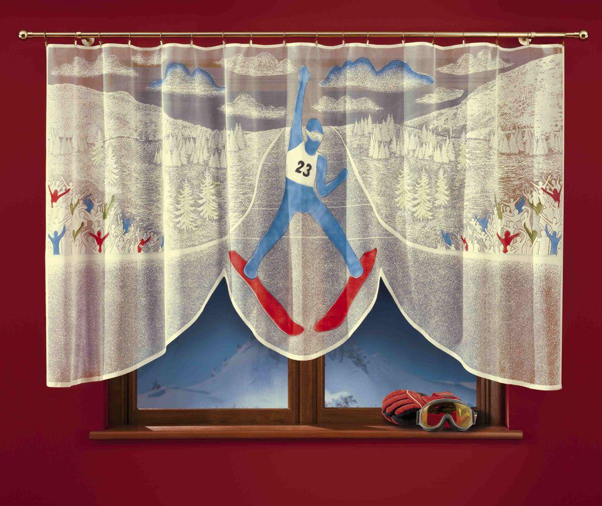 Гардина Wisan Skoczek, цвет: молочный, высота 150 см723АГардина Wisan Skoczek изготовлена из полиэстера, легкой, тонкой ткани. Изделие украшено ручной раскраской в виде лыжника на соревнованиях. Тонкое плетение, оригинальный дизайн и приятная цветовая гамма привлекут к себе внимание и органично впишутся в интерьер кухни. Оригинальное оформление гардины внесет разнообразие и подарит заряд положительного настроения.Гардина не оснащена креплениями.