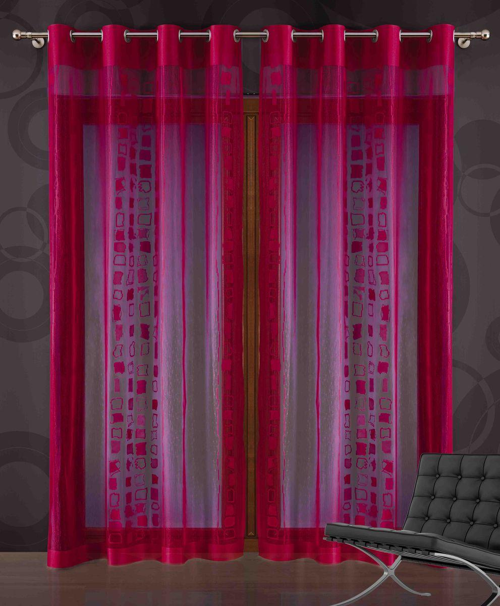 Штора Wisan Gaston, на люверсах, цвет: красный, высота 250 см