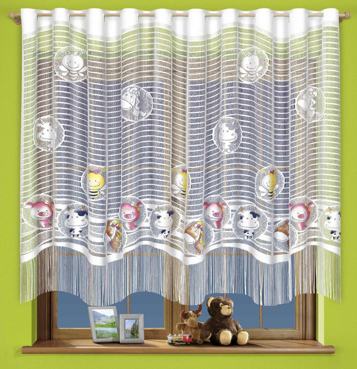 Гардина Wisan Zwierzaki, на петлях, цвет: белый, высота 160 см710АГардина Wisan Zwierzaki изготовлена из белого полиэстера, легкой, тонкой ткани. Изделие выполнено из бахромы, с забавными вставками зверушек. Тонкое плетение, оригинальный дизайн и приятная цветовая гамма привлекут к себе внимание и органично впишутся в интерьер кухни. Оригинальное оформление гардины внесет разнообразие и подарит заряд положительного настроения.Верхняя часть гардины оснащена петлями для круглого карниза.