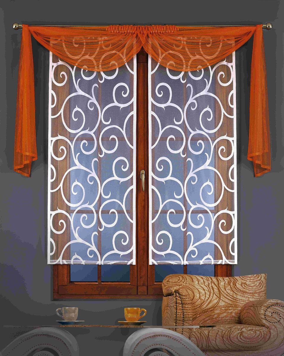 Гардина-панно Wisan Kamila, с ламбрекеном, на ленте, цвет: белый, оранжевый, высота 150 см, 3 предмета5880оранжеваяВоздушная гардина-панно Wisan Kamila, изготовленная из полиэстера, станет великолепным украшением любого окна. Гардина состоит из двух частей, украшенных изящными узорами. Также в комплект входит ламбрекен. Оригинальное оформление и приятная цветовая гамма изделия привлекут к себе внимание и органично впишутся в интерьер комнаты. Изделия оснащены шторной лентой для крепления на карниз. Размер гардины-панно: 60 см х 150 см. Размер ламбрекена: 70 см х 120 см.