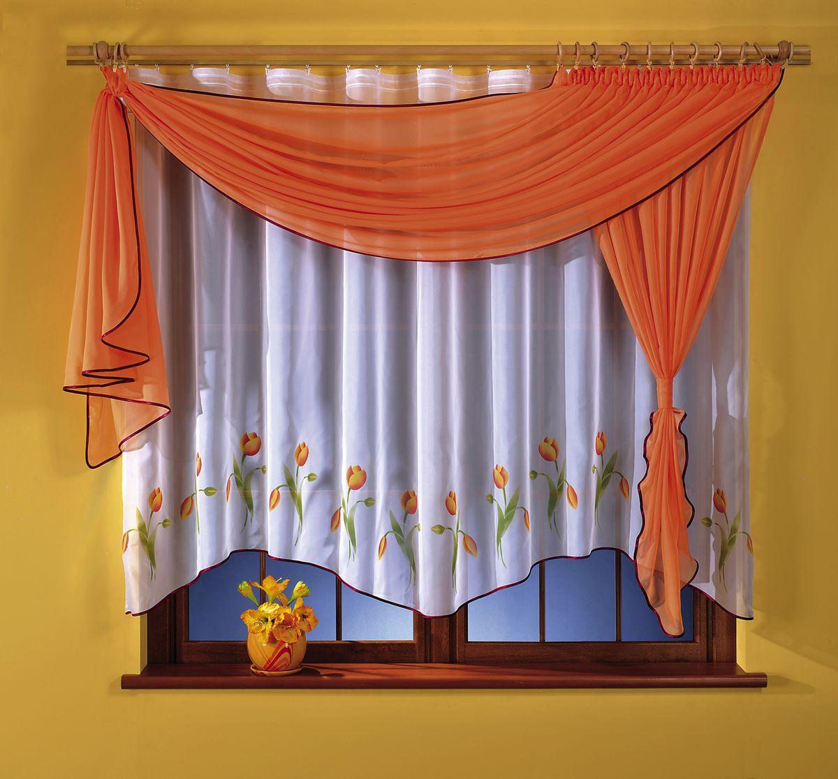 Комплект штор для кухни Wisan Marzenka, на ленте, цвет: белый, оранжевый, высота 180 см